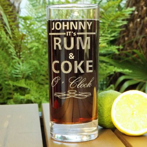Personalised Engraved Rum and Coke O'Clock Drinks Glass